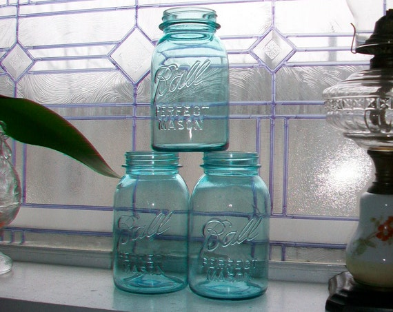 3 Blue Ball Jars Quarts Perfect Mason Vintage 1923 to 1933