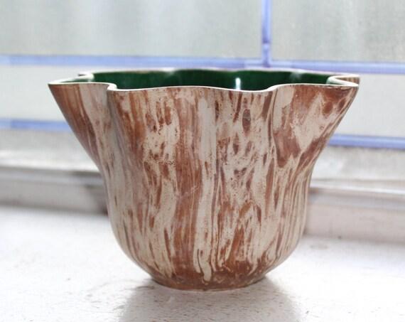 Vintage Rocky Mountain Pottery Vase Planter Brown Swirls Green Interior