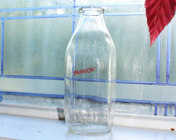 Vintage Milk Bottle Fairmont Creamery Moorhead MN Square Quart 1950s