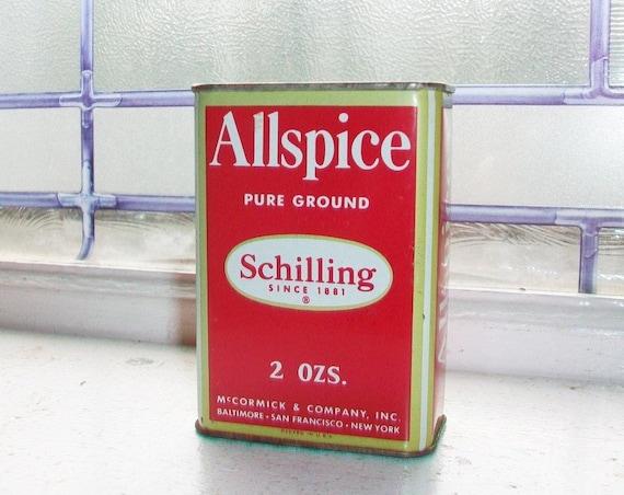 Vintage Schilling Spice Tin Allspice Red and White Kitchen Tin
