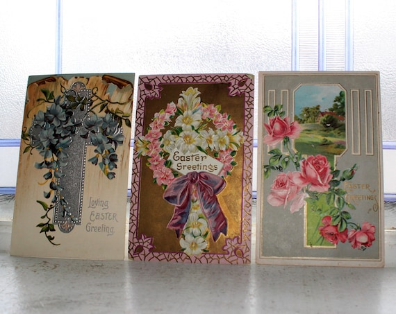 Antique Postcard Easter Flowers