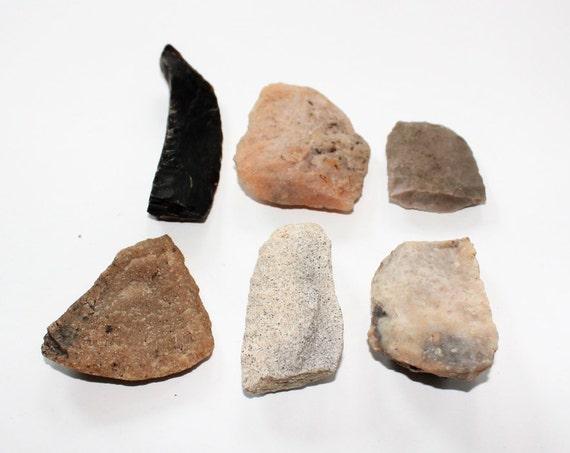6 Antique Arrowheads & Hide Scrapers Native American 1800s North Dakota