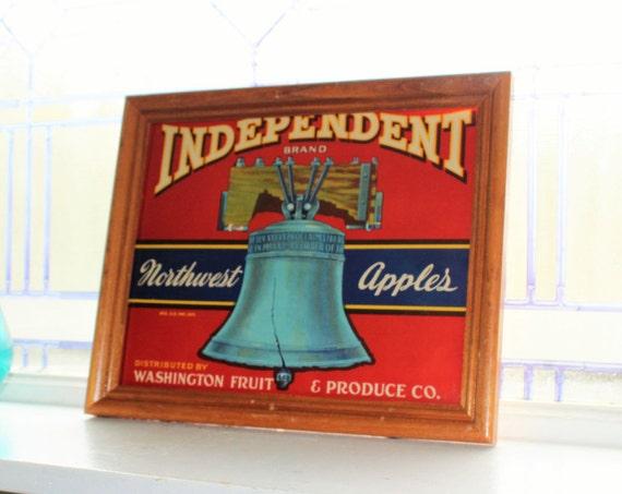 Framed Fruit Crate Label Independent Apples Vintage 1940s