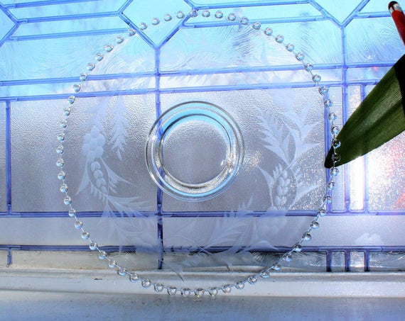 Candlewick Cake Plate Etched Glass