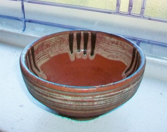 Antique Slip Decorated Bowl Circa Mid 1800s Redware Stoneware