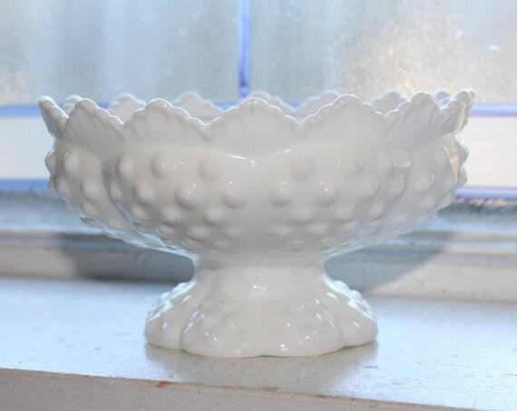 Vintage Fenton Milk Glass Hobnail Candle Holder Pedestal Dish Candlestick Holder
