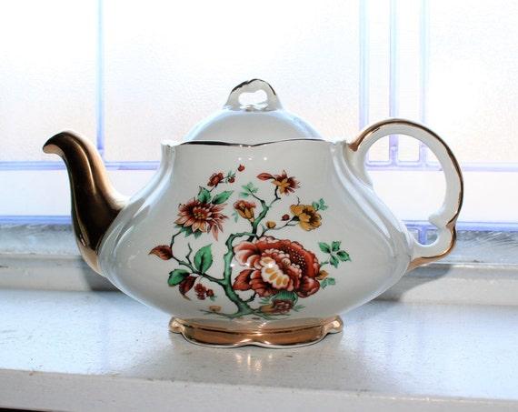 Vintage Teapot Ellgreave Chrysanthemums