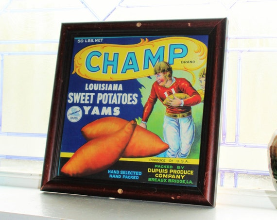 Framed Vegetable Crate Label Champ Louisiana Sweet Potatoes Yams Vintage 1940s Football Player