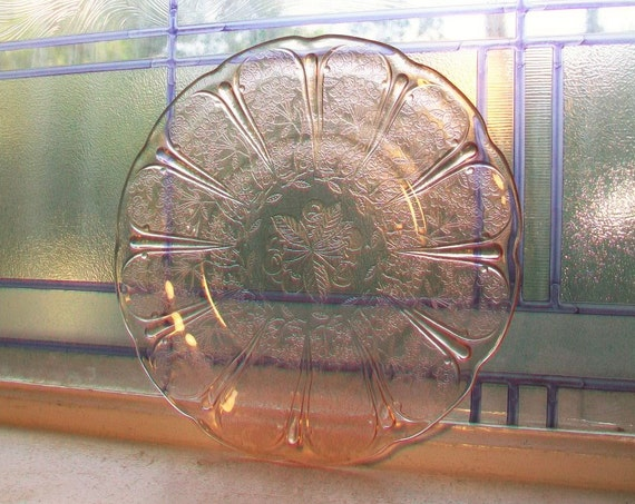 """Pink Depression Glass Dinner Plate 9"""" Cherry Blossom 1930s 7 Available"""