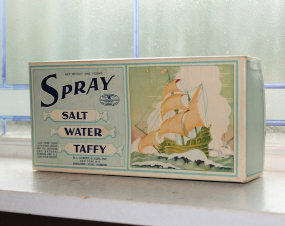 Vintage 1950s Spray Salt Water Taffy Box Country Store or Retro Kitchen Display