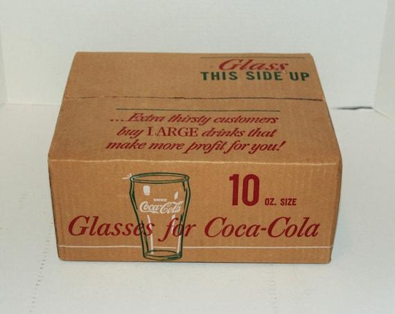 12 Libbey Coca Cola Glasses In Original Box 10 Oz. Restaurant Ware Vintage 1970s