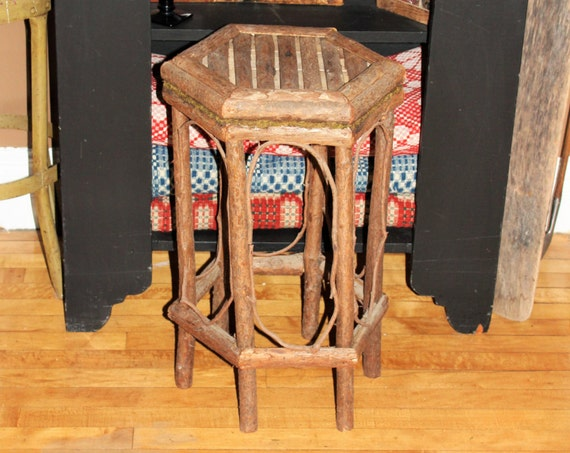 Vintage Rustic Twig Stand Bentwood Table Adirondack Style Folk Art End Table Farmhouse Decor Cabin Decor