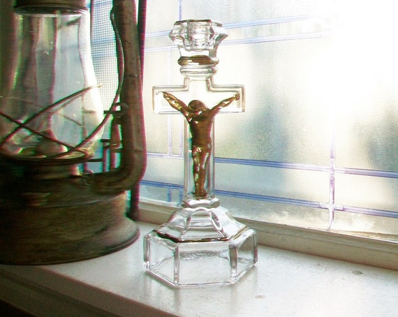 Vintage Glass Crucifix Candleholder Gold Highlights Jesus On The Cross