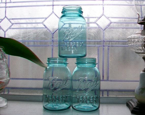 3 Blue Ball Jars Quarts Perfect Mason Antique 1910 to 1923