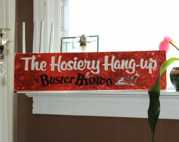 Vintage Buster Brown Sign Hosiery Hang Up 1960s 36 x 9