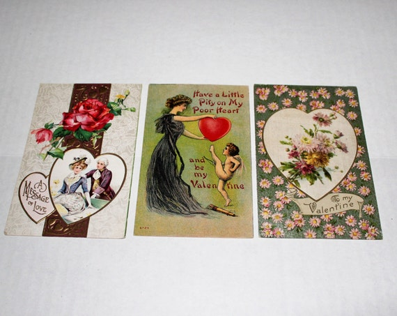3 Antique Valentines Cards Postcards Circa 1910s