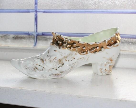 Antique Porcelain Shoe Souvenir with Gold Trim