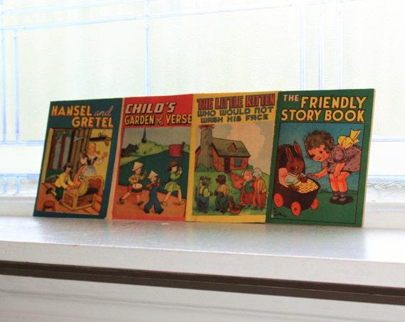 4 Vintage 1940s Children's Books Illustrated Booklets