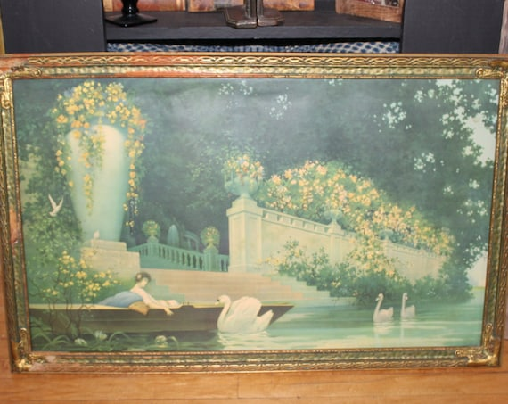 Large 1920s George Hacker Lithograph Print Daydreams Original Frame 32 x 20 Art Deco