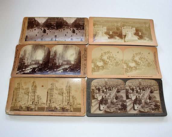 6 Antique Stereoviews World Scenes Finland Canada England France