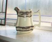 Antique Ironstone Milk Pitcher Brown Transferware
