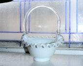 Vintage Fenton Glass Silver Crest Basket Art Glass