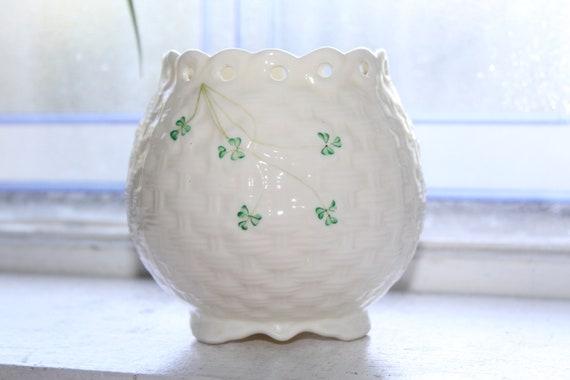Vintage Irish Belleek Vase with Shamrocks Pierced Edge 1960s