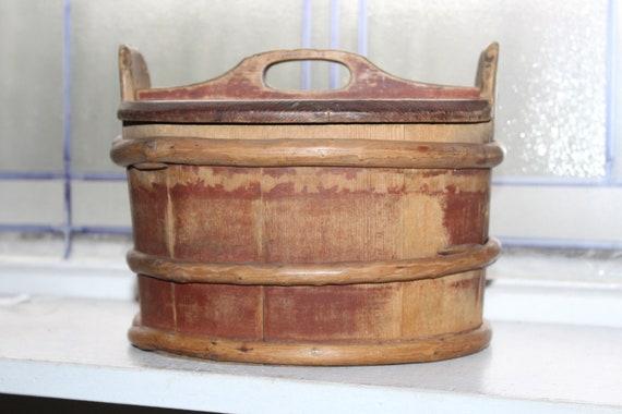 Mid 1800s Norwegian Tine Box Bentwood Twig Wrapped Antique Folk Art