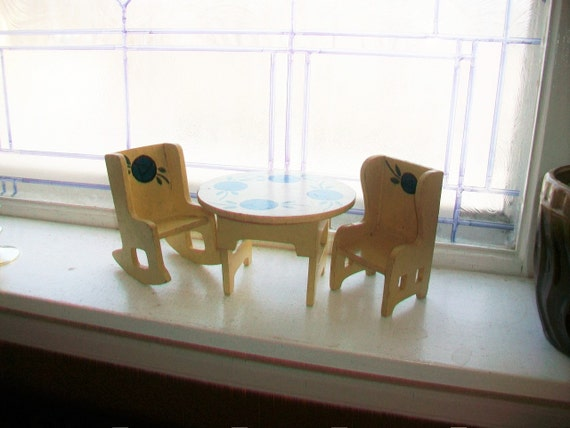 Vintage Wood Dollhouse Furniture Table and Chairs 3 Pc Set