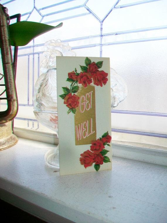 1950s Get Well Soon Card Unused Vintage Greeting Card with Envelope