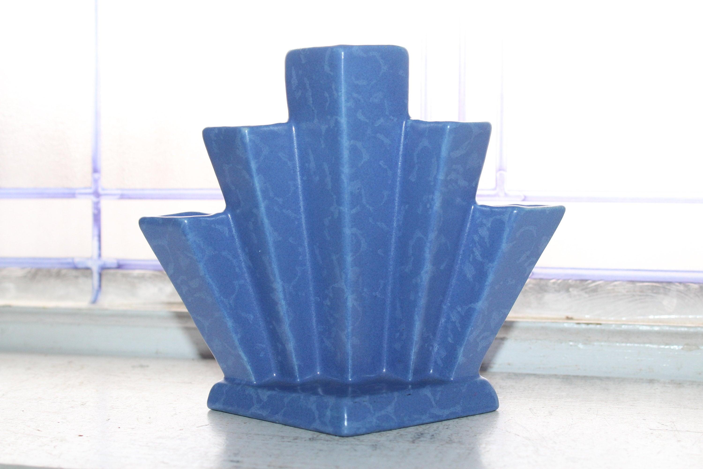 Vintage blue fan vase
