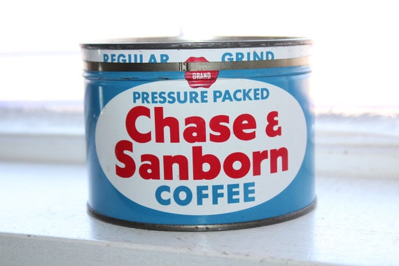 Vintage Chase and Sanborn Coffee Tin Red White and Blue