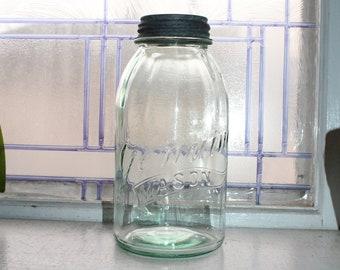 Vintage Genuine Mason Half Gallon Jar Light Blue Glass
