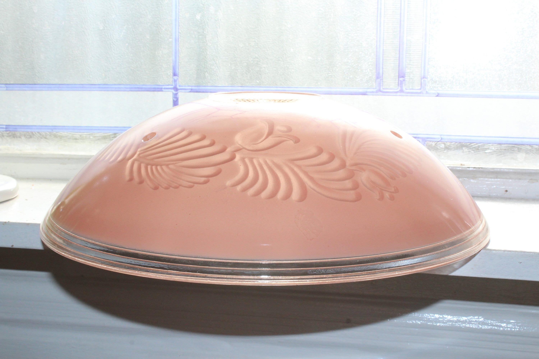 Vintage soffitto luce incorone ombra rosa vetro Art Deco 3
