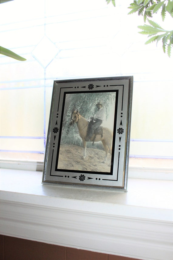 Vintage Art Deco Picture Frame with Cowboy and Horse Photograph