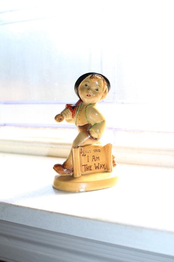 Hummel Style Plaster Boy & Umbrella Figurine Jesus Said I Am The Way