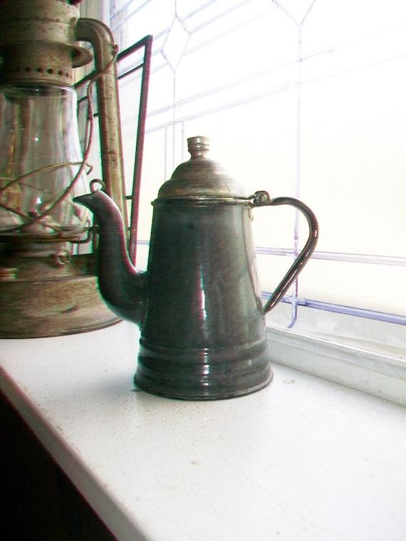 Antique Gray Graniteware Coffee Pot Agate Mfg 7 Inch Rare Size