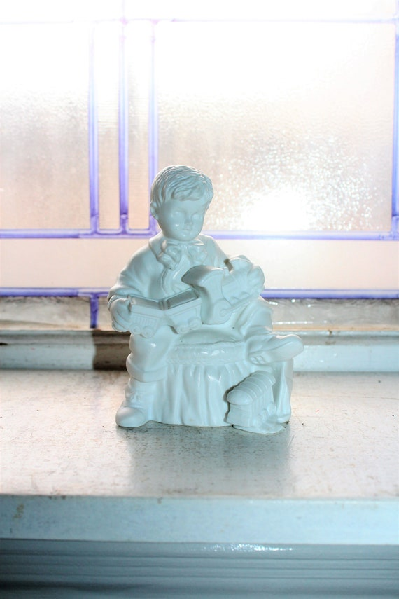 Dept 56 Silhouette Christmas Presents White Figurine Boy & Toy Train