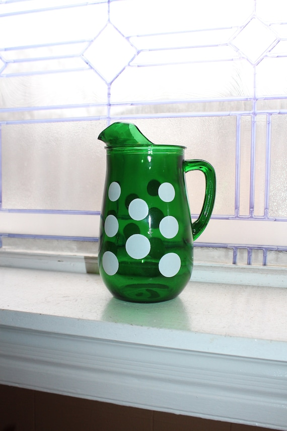 Forest Green Glass Pitcher with White Polka Dots Vintage 1950s