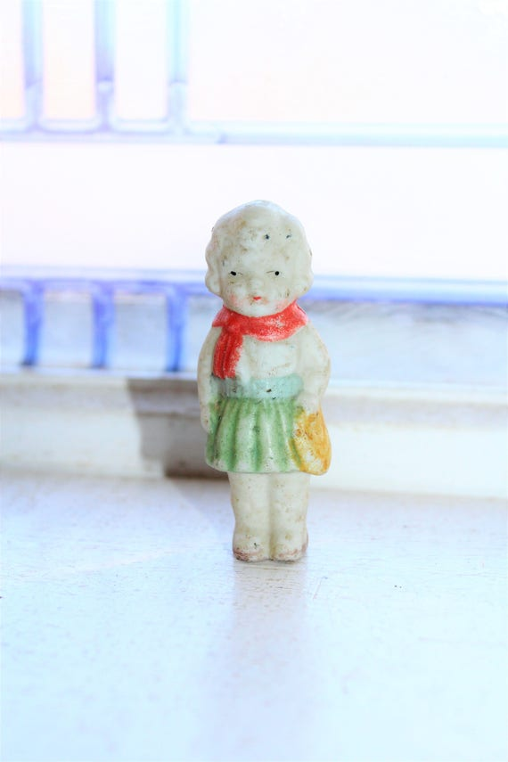 Vintage Bisque Doll Frozen Charlotte Girl Holding Purse