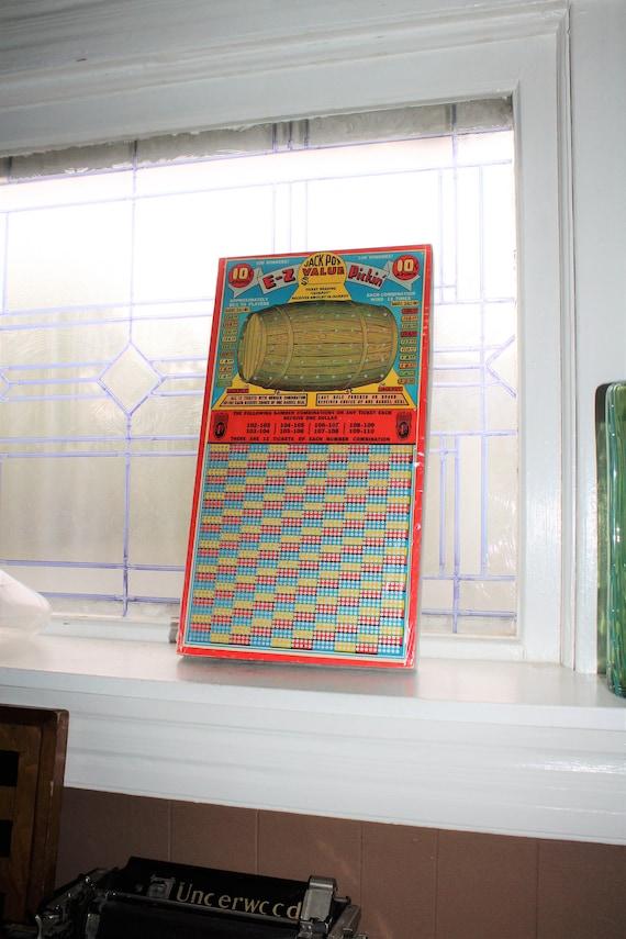 Jackpot Value E_Z Pickin Punch Board Vintage Gambling