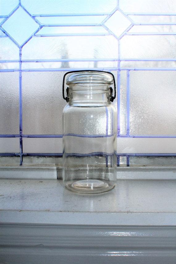 Clear Quart Mason Jar with Glass Lid