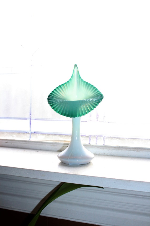 Vintage Cased Glass Jack in the Pulpit Vase Teal and White