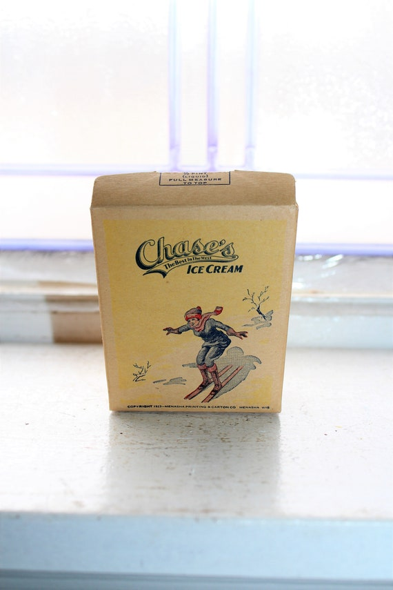 Vintage 1920s Chase's Ice Cream Half Pint Box Unused