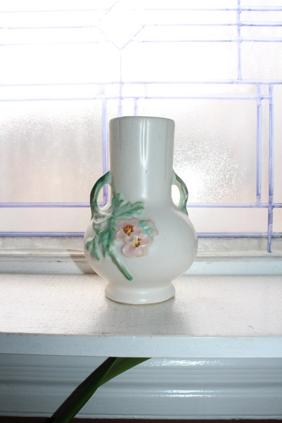 Vintage White Weller Pottery Planter Vase C4 with Pink Flowers