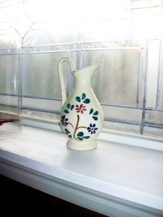 Vintage Purinton Syrup Pitcher or Cruet Slip Ware Blue and Red Floral Pottery