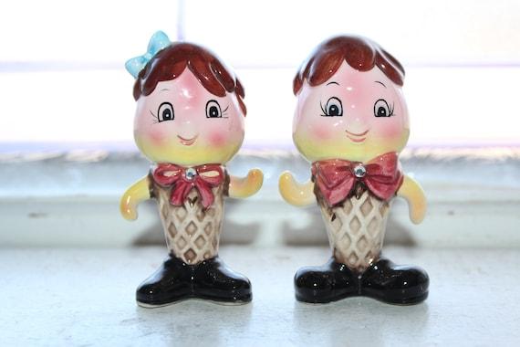 Vintage Anthropomorphic Ice Cream Cones Salt and Pepper Shaker 1950s