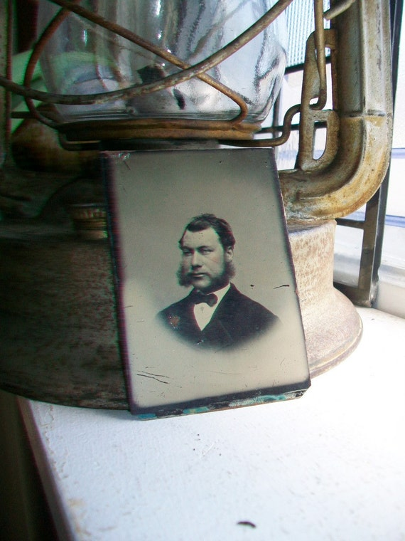 Antique Tin Type Photograph of a Man with Large Mutton Chop Sideburns Circa 1850-1860s