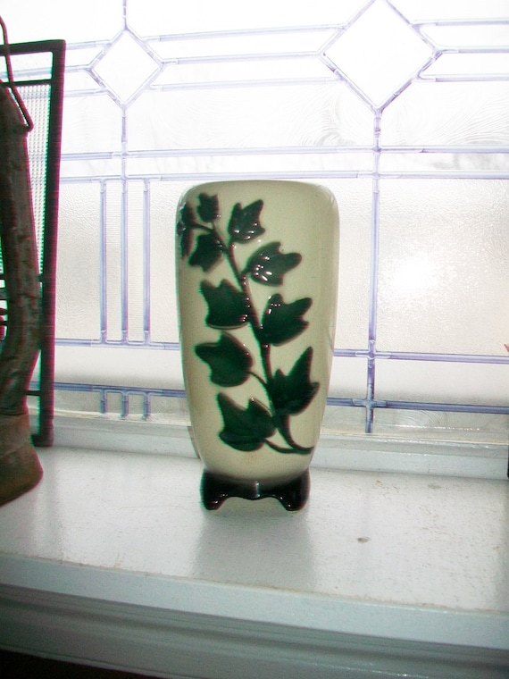 Vintage Royal Copley Ivy Vase Green and White Mid Century 8 Inch