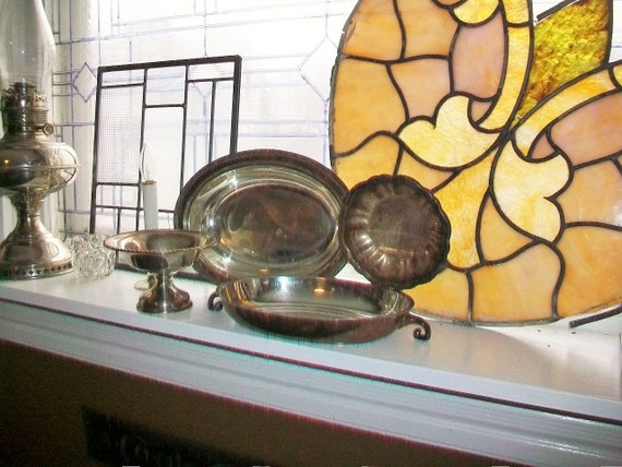 4 Pc Vintage Silverplate Dishes Bowls